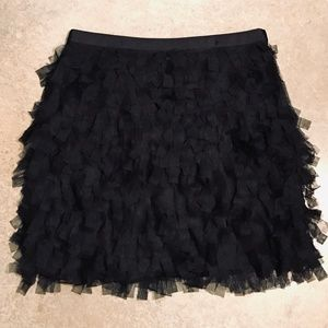 Loft Black Mini Skirt w/ Ribbon Fringe